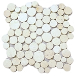 White Moon Mosaic Tile interlocking pebble tile flooring, shower pebble tile floor, bathroom pebble rock floor, river rock stone mosaic floor tile, natural pebble tile, kitchen backsplash, sliced, mini, polished, patio landscape, pool surround